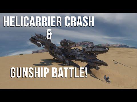 Space Engineers | HELICARRIER CRASH / GUNSHIP BATTLE!