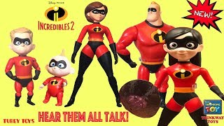 Full set Disney Pixar Incredibles 2 Movie Thinkway Toys Interactive Poseable Articulating Figures