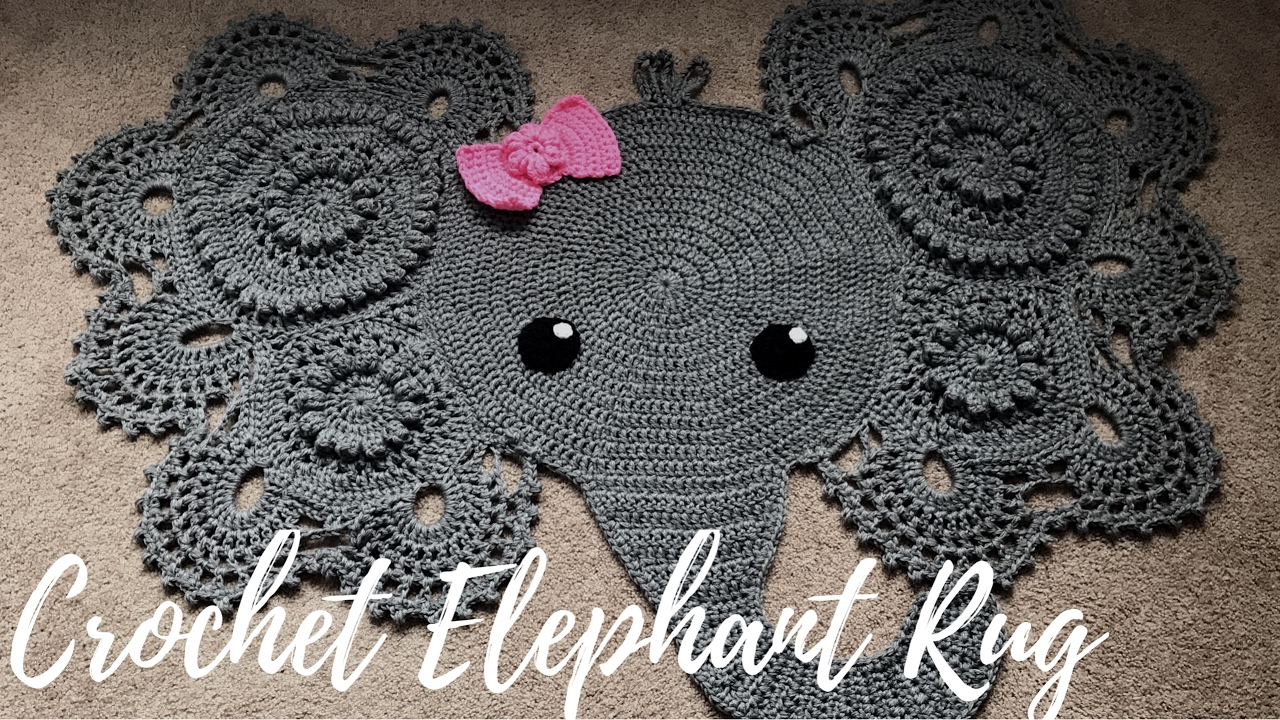 Homemade Crochet Elephant Rug With Bow A Glimpse Into How