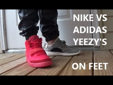 Kanye West x adidas Yeezy Boost 350 VS Nike Air Yeezy 2 Red October With  @DjDelz #PickOne - YouTube
