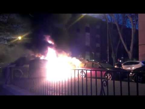 Container and cars on fire + cleanup