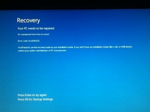 Восстановление системы после ошибки 0xc0000225