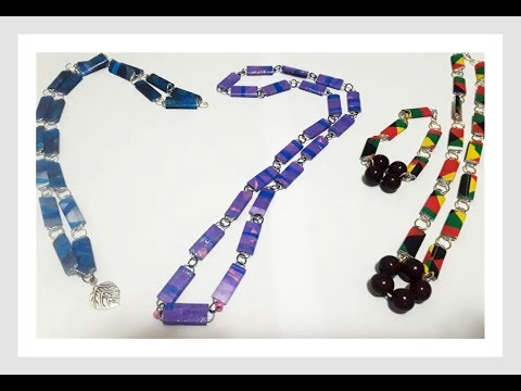 Paper Clip and Paper Bead necklace- DIY tutorial