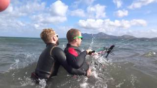 two kite students www edmkpollensa com kitesurfing lessons in mallorca in May wind in mallorca