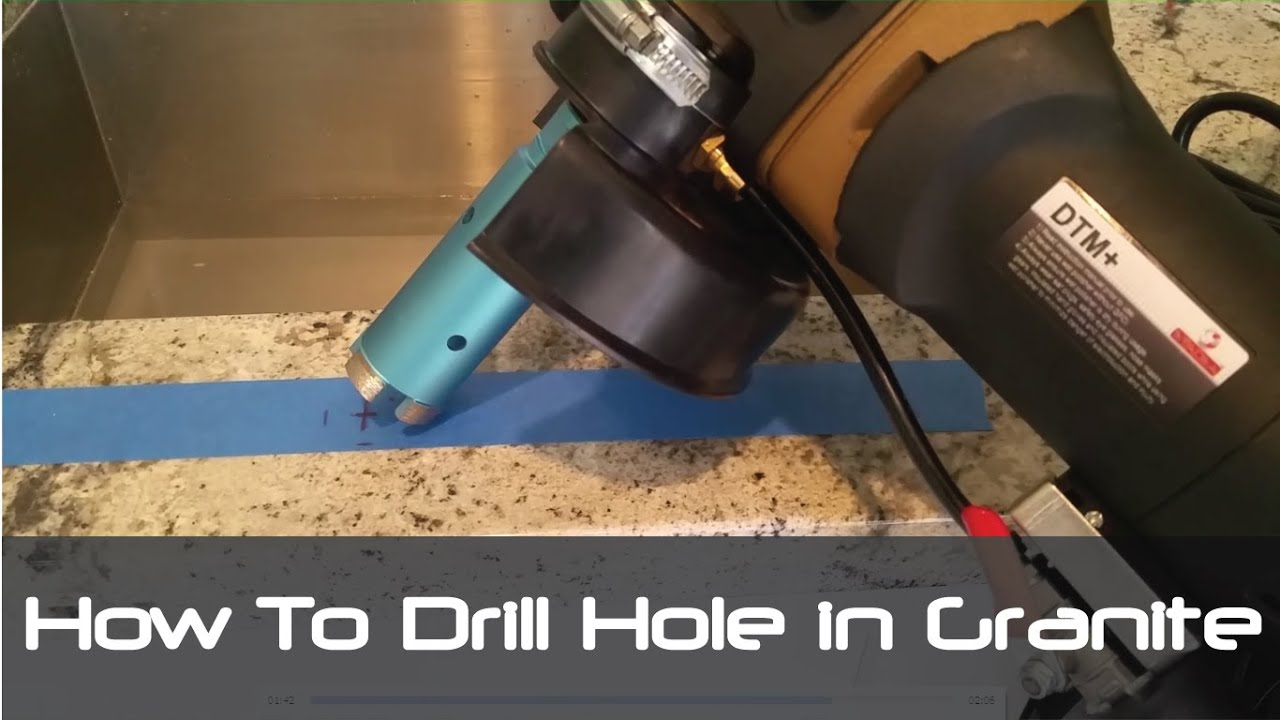 how to drill hole in granite concrete countertops tiles for faucet youtube. Black Bedroom Furniture Sets. Home Design Ideas