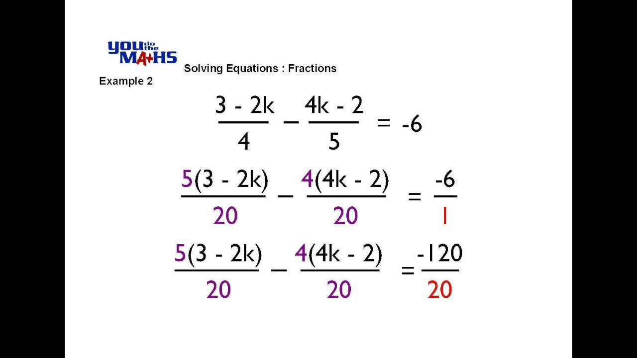 worksheet Linear Equations With Fractions solving linear equations fractions 2 youtube 2