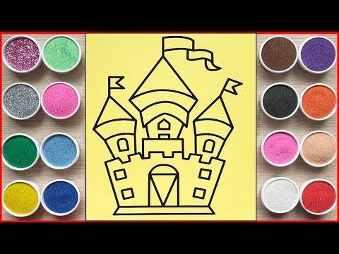 Đồ chơi trẻ em TÔ MÀU TRANH CÁT LÂU ĐÀI CỔ TÍCH MỘNG MƠ - Sand painting the castle toys (Chim Xinh)