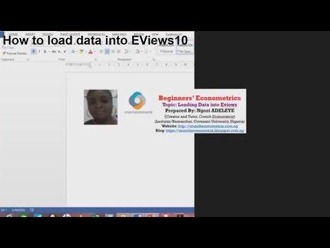 Beginners Econometrics (EViews) - How to import data