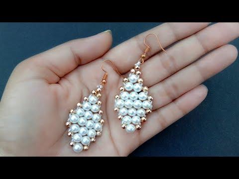 How To Make// Pearl Earrings// Tutorial// Useful & Easy