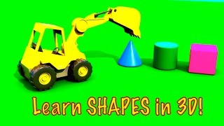 Learn Shapes! 3D Excavator Cartoons for Kids.Kids Construction.Videos for Kids.CONE