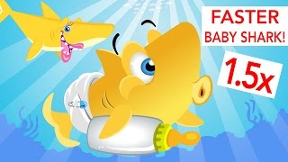 Faster Baby Shark! | Animal Songs | by Little Angel