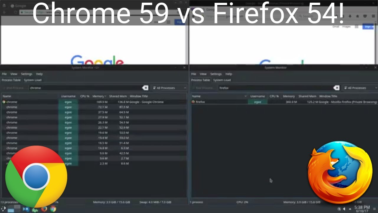 Firefox 54 vs Chrome 59 Benchmark On Ubuntu Linux