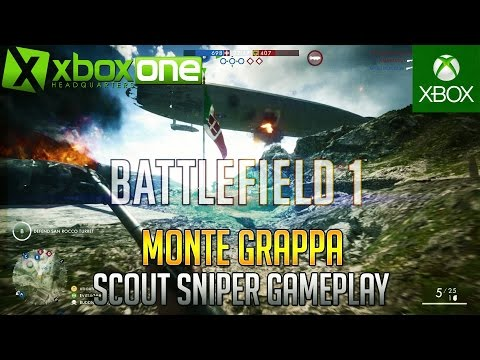 Battlefield 1 MONTE GRAPPA Scout Sniper 64 Player Conquest Gameplay (26-14) ᴴᴰ 1080/60fps