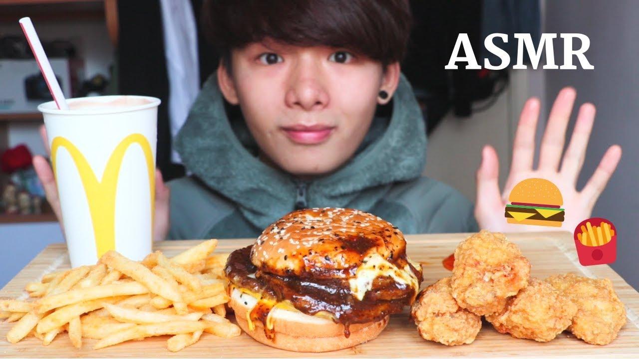 Asmr Eating Sounds Mcdonalds Fried Chicken Fries Brand New Burger Eating Sound Mar Asmr