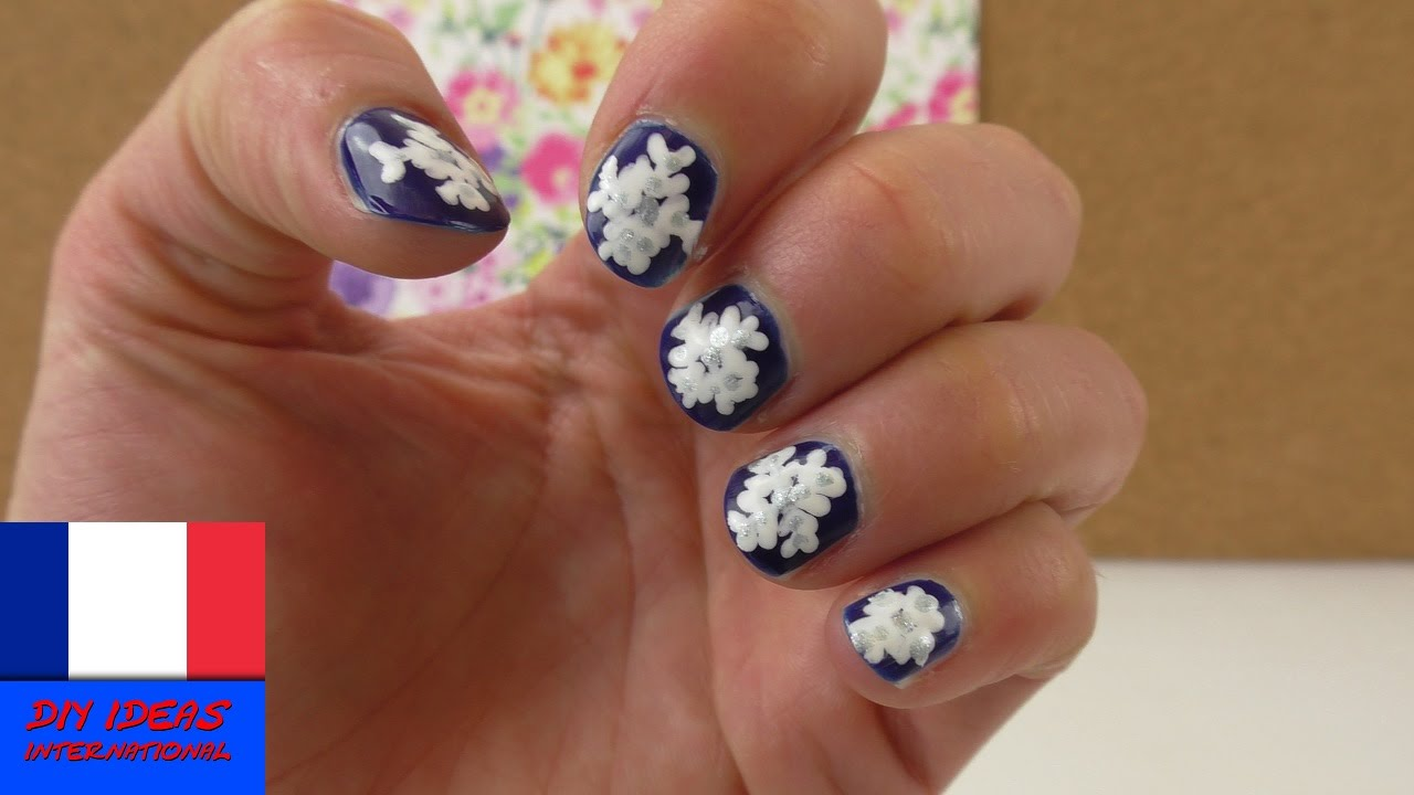Motif pour les ongles en forme de flocon de neige beaut des ongles pour l 39 hiver et no l youtube - Forme des ongles ...