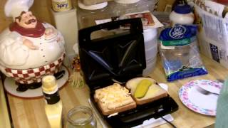 Robb Discovers toasted sandwich makers with toasted fishpickle cheese sandwich