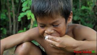 Primitive Technology - Eating delicious - Cooking fish