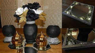 (Giveaway Closed) Dollar Tree Glam Bling Centerpiece| DIY Elegant Candle Holders and Lighted Tray