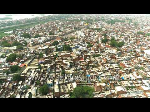 Kanpur is a crowded busy industrial city along the Ganga river - see it from the air