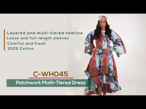 Patchwork multi tiered dress from Africa Imports