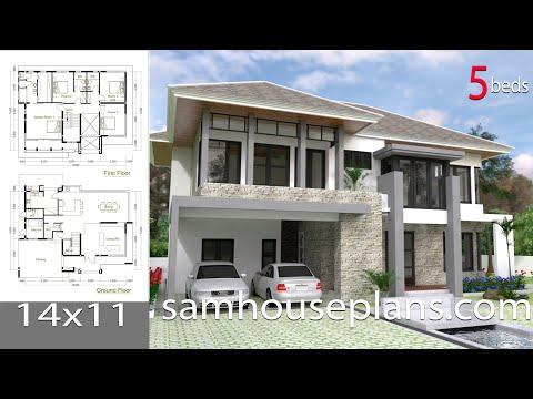 SketchUp Modern Home Design Plan Size 14x11m