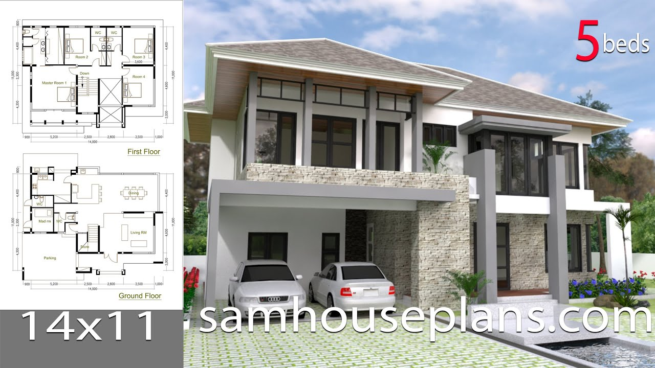 Sketchup modern home design plan size 14x11m youtube for Plan architecte villa moderne