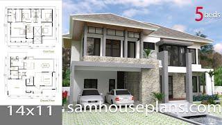 Video SketchUp Modern Home Design Plan Size 14x11m download MP3, 3GP, MP4, WEBM, AVI, FLV Desember 2017