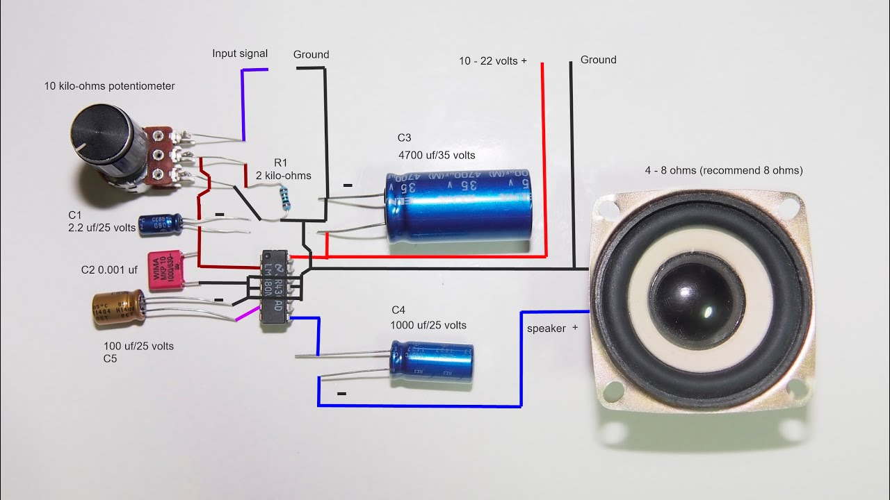 wiring diagram for sub and amp make a 2 5 watts amplifier lm380n youtube