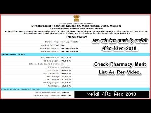 Repeat D Pharmacy Online Merit List, Final Merit List