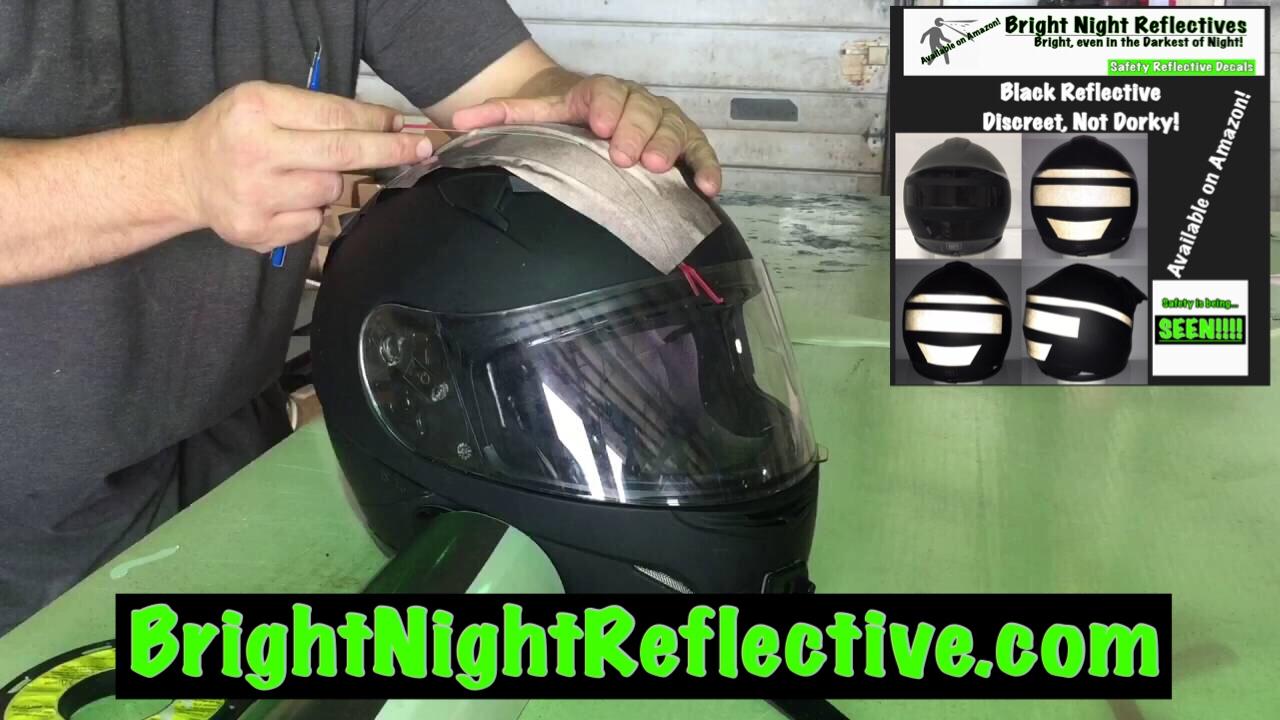 Be Seen Black Reflective Accent Added To Helmet Instructional - Reflective helmet decals