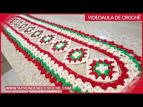 Caminho de Mesa em Crochê Cores do Natal - Aprendendo Croche