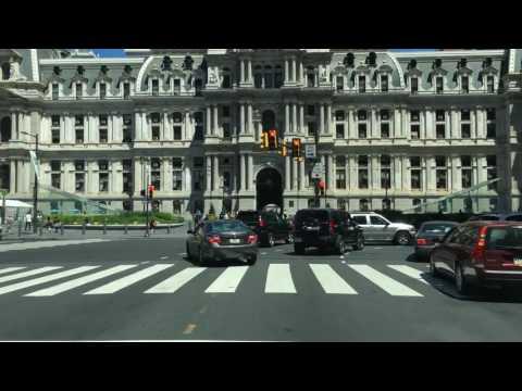 Driving Downtown Market Street Philadelphia Pennsylvania USA