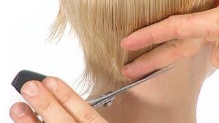 Женская стрижка ПИКСИ с длинной косой челкой