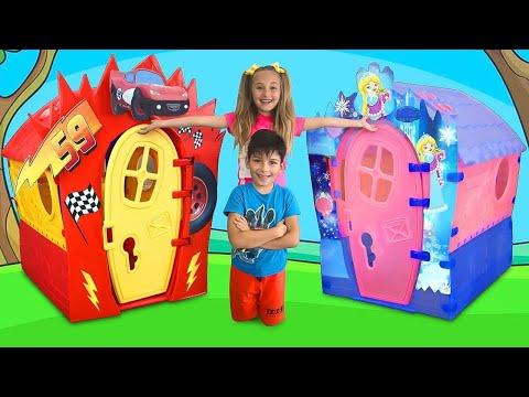 サーシャとマックスは、プレイハウスの友達、掃除、建設、修理を手伝います。 色付きのプレイハウスについての面白い話。