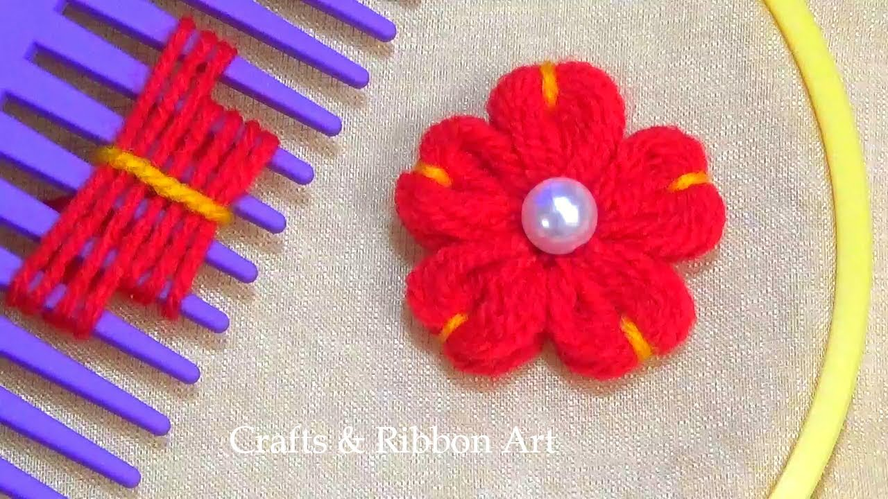 Amazing Trick with Hair Comb - Easy Woolen Flower Making Ideas - Hand Embroidery Hack