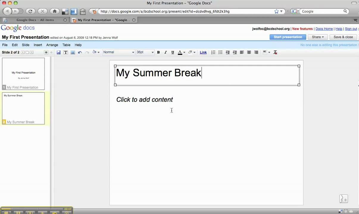 google docs presentation adding a new slide youtube