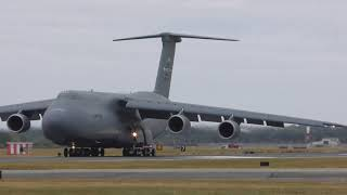 upload US President Trump UK Visit C5 lands RAF Mildenhall UK 10jul18 339p