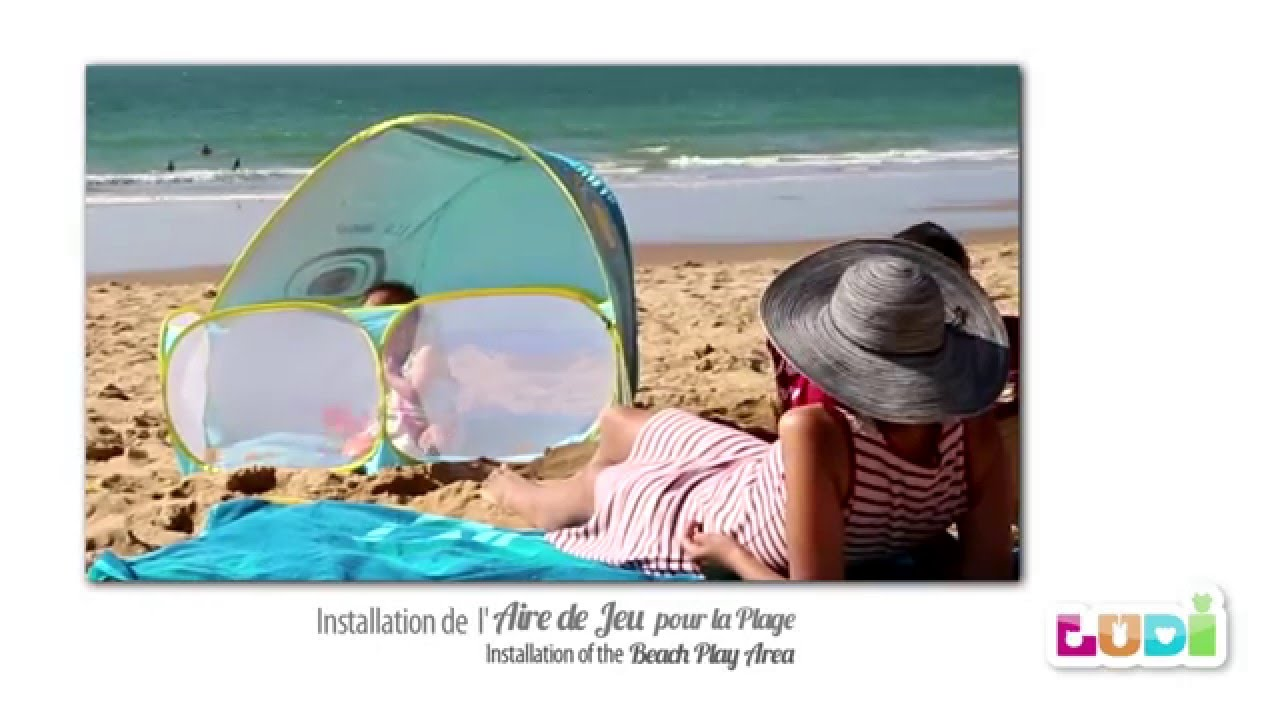 aire de plage ludi installation et pliage youtube. Black Bedroom Furniture Sets. Home Design Ideas