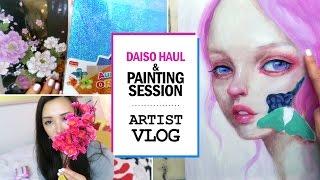 Daiso HAUL & Painting Session // ARTIST VLOG 13