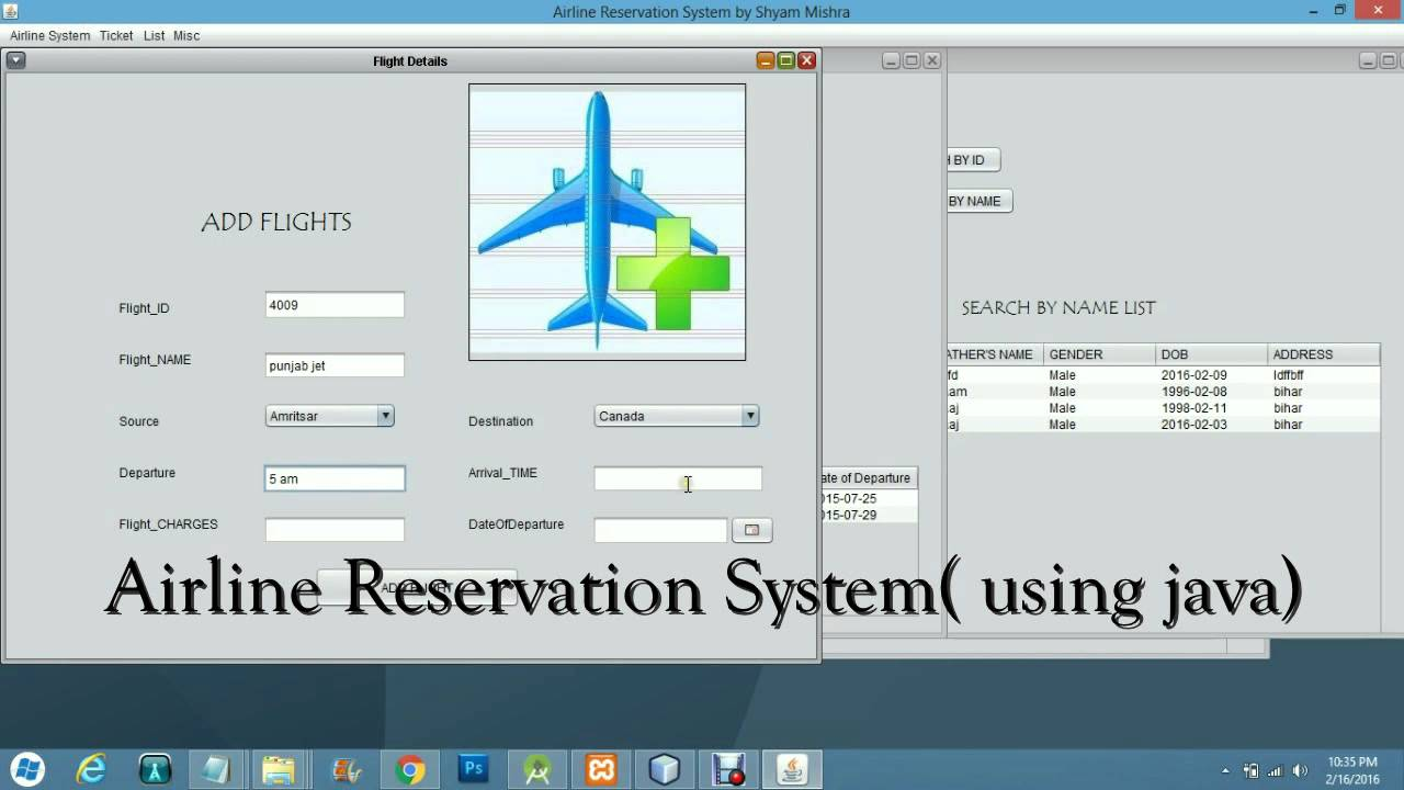 Airline reservation system using java for Design hotel reservation system