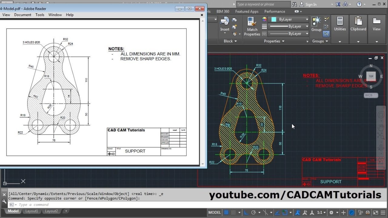 AutoCAD 2015 Tutorial for Beginners Complete | Drawing, Layers, Hatch,  Dimensions, Pdf