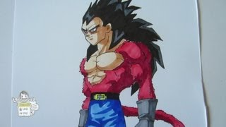 How to draw Vegeta Super Saiyan 4 ベジータ