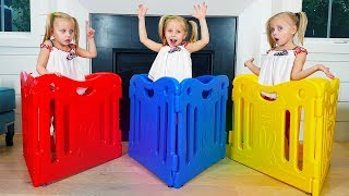 Alice building playground for toys and dolls / Color finger family song
