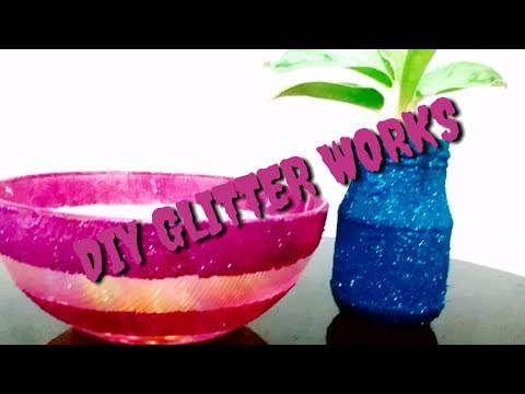 Diy Glitter Glass Work in Jar And Bowl // Craft Ideas // Nidhas Diary