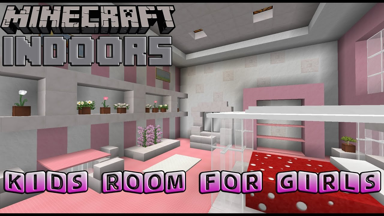Delightful Kids Bedroom For Girls   Minecraft Indoors Interior Design   YouTube