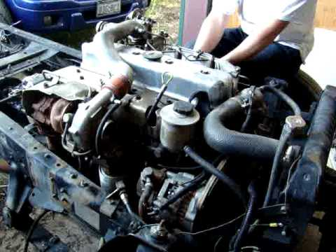Chevy Diesel Nissan FD35T start up - YouTube