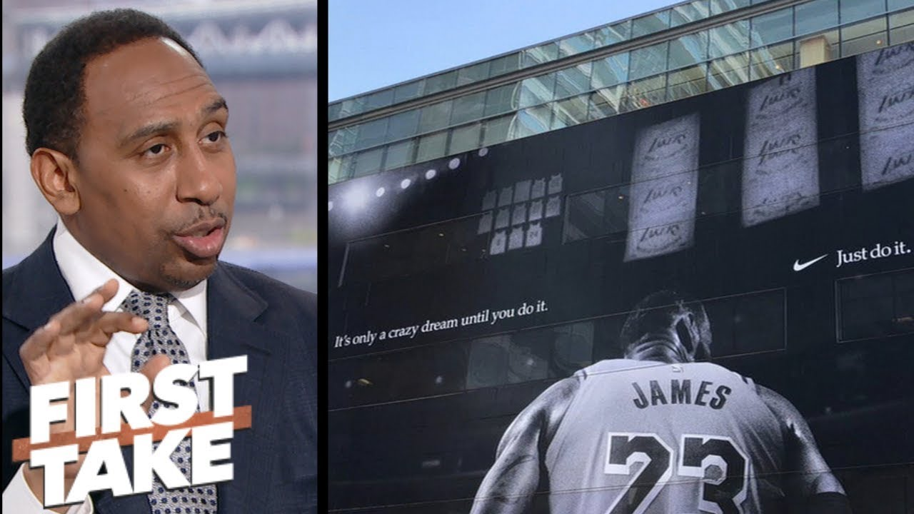 d95d6d04d834 Stephen A. unimpressed by LeBron James  mural outside Staples Center ...