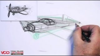 Learn How to Draw a Cartoon Airplane in Two Point Perspective Part 2 of 5