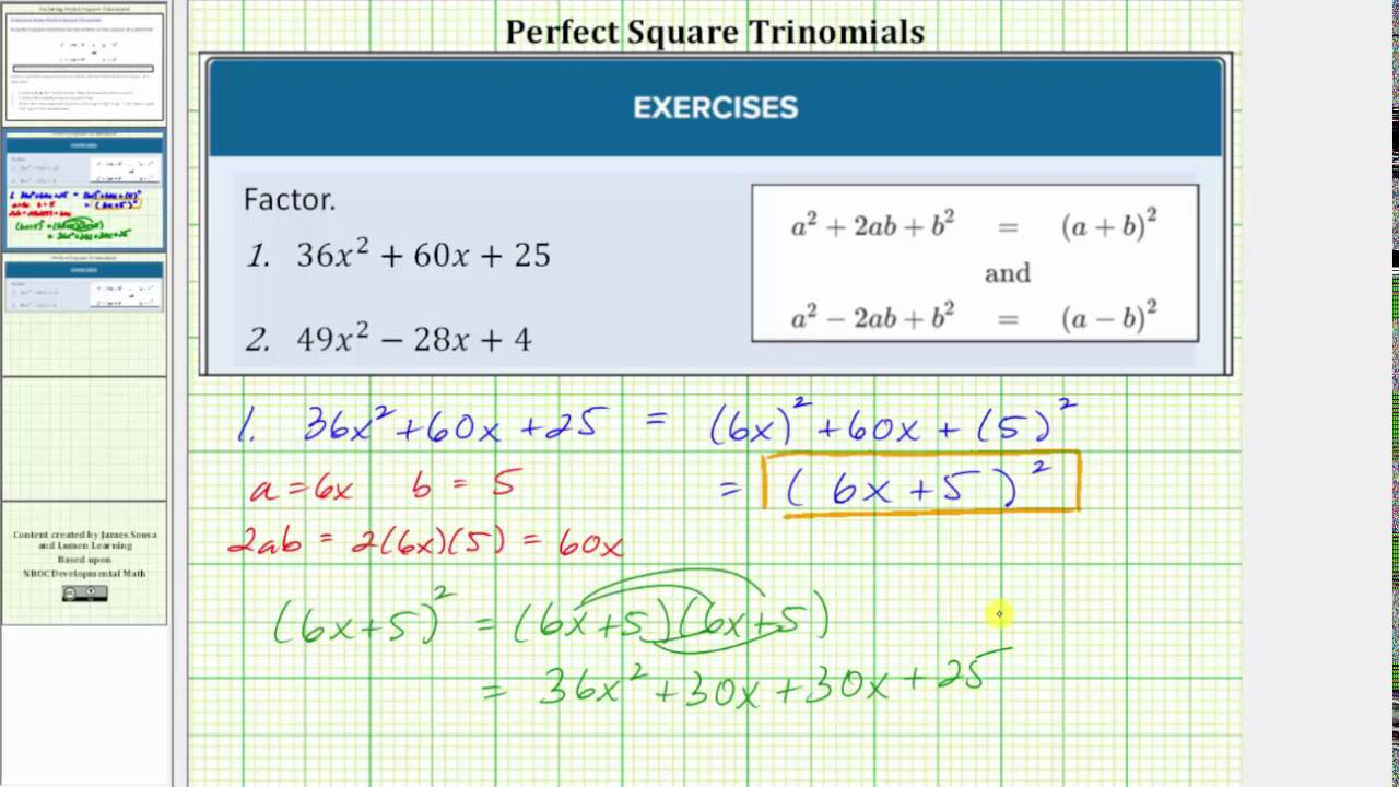 Factoring Special Cases | Intermediate Algebra