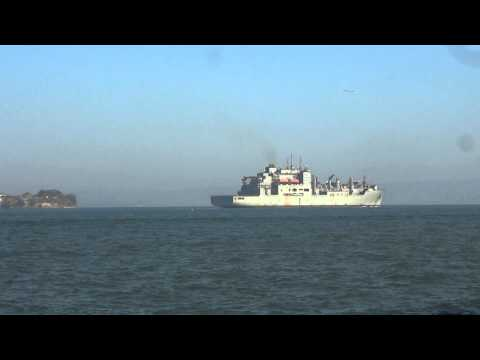 Military Sea Lift command ship passes Alcatraz 12/15/13